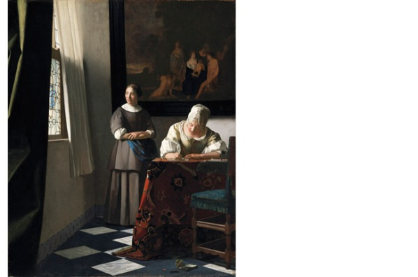 "Johannes Vermeer, ""A Lady Writing a Letter, With Her Maid"" c.1670. image courtesy of national gallery.ie"