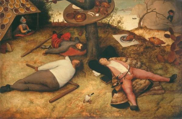 """Pieter Brueghel """"Land of Cockaigne"""" 1567. image courtesy of www.pinakothek.de"""