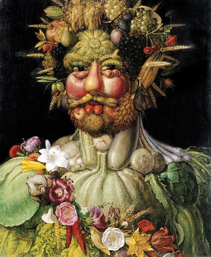 """Giuseppe Arcimboldo """"Rudolf II, Vertumnus"""" god of vegetation and seasons. image courtesy of www.smithsonian.org"""