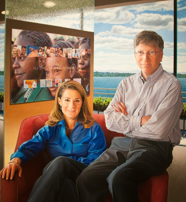 William and Melinda Gates portrait, National Portrait Gallery,Smithsonian Art Museum, Donald W Reynolds Center for American Art and Portraiture, Washington, DC