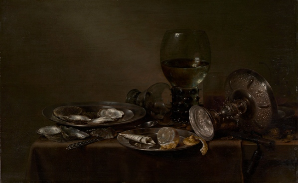 """Willem Claesz Heda """"Still Life With Oysters, a Silver Tazza and Glassware"""" 1635. image courtesy of www.metmuseum.org"""