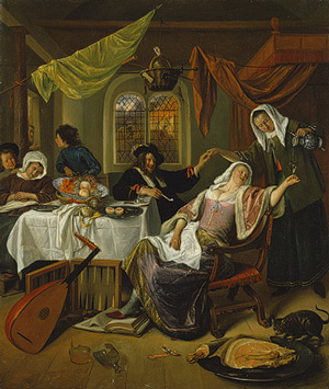 "Jan Steen ""The Dissolute Household"" 1663-64. image courtesy of www.metmuseum.org"
