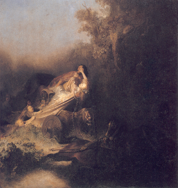 "Rembrandt van Rijn ""The abduction of Proserpina"" c.1630. image courtesy of rembrandtpainting.net"