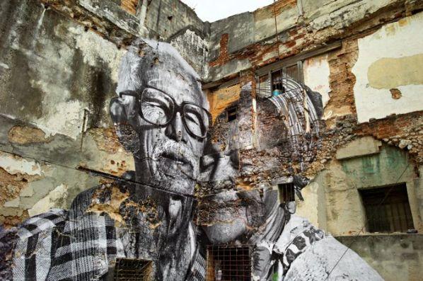 JR, La Havana, Rafael Lorenzo y Obdula Monano, Cuba (2012). image courtesy of www.jr-art.net