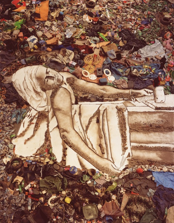 Vic Muniz, Death of Murat, garbage series (2011). images courtesy of www.sikkemajenkinsco.com