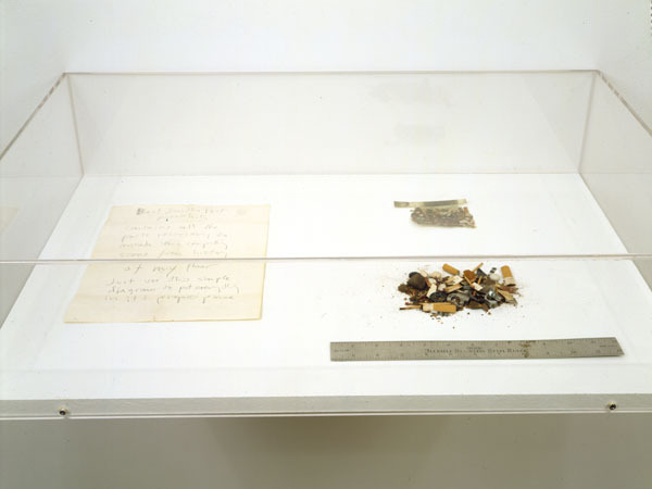 GORDON MATTA-CLARK Blast from the Past 1970-1972 cut color photograph, 12 inch steel ruler, sheet of text in pencil and floor sweepings dimensions vary with installation