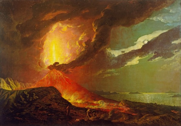 Joseph Wright, Vesuvius in Eruption with a View over the Islands in the Bay of Naples, ca.1776-80. image courtesy of www.tate.uk.org