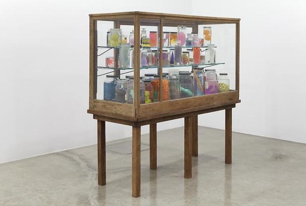 Mark Dion, Marine Invertebrates, 2013, 70 objects in glass jars, isopropyl alcohol, glass and wood cabinet. image courtesy of Tanya Bondakdar Gallery.